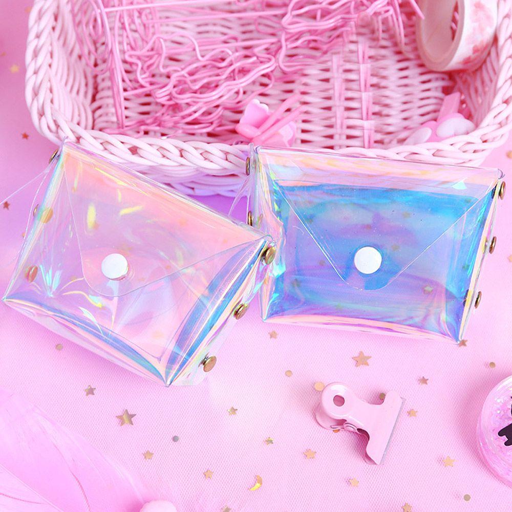 1 Pc Transparent Kopfhörer Taschen Kleine Brieftasche Geldbörsen Mini Kinder Tasche Brieftaschen Schlüssel Karte Halter Pvc SchöN In Farbe