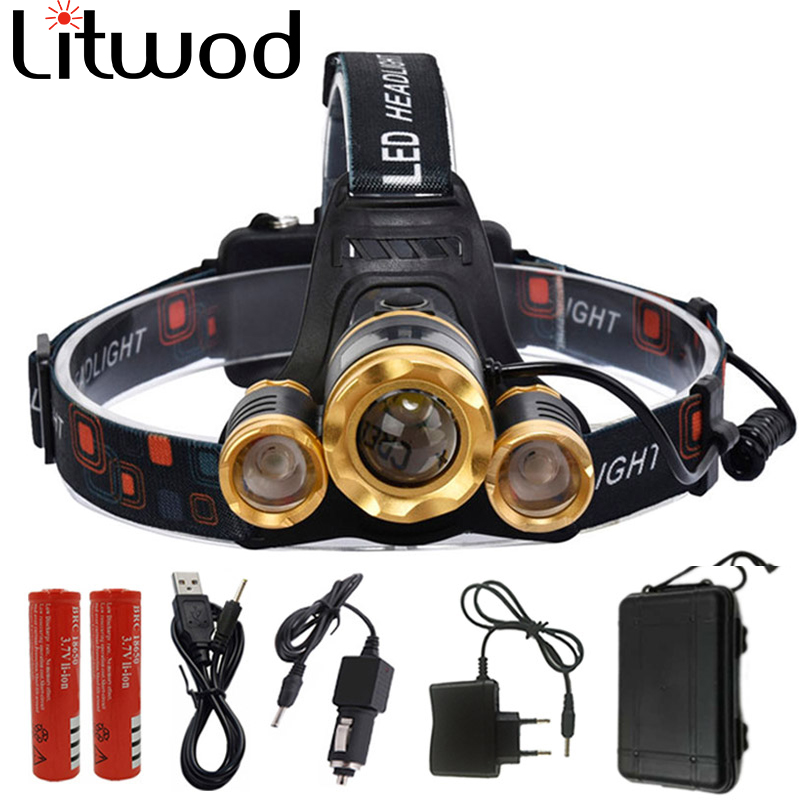 Z25 12000LM Led Headlight Zoom headlamp Rechargeable Head lamp Portable Light Head Torch 3*XM-L T6 / T6+2R5 for camping with box maimu 8000lm usb power led headlamp cree xml t6 3 modes rechargeable headlight head lamp torch for hunting 18650 head light d14