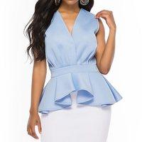 Summer Office Ladies Elegant Plus Size Blue Blouses Women Slim Plain Falbala African Woman Clothes 2019 Top Female Fashion Shirt