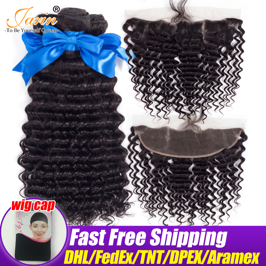 Jarin Deep Wave Hair Bundles With Lace Frontal Closure 13 4 Ear To Ear Brazilian Remy