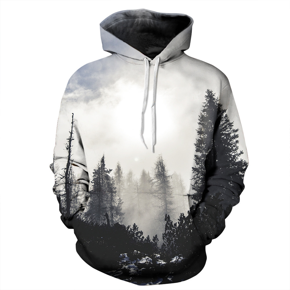 Fall 2019 Men's Hoodie Slim Print Forest Tree Hooded Sweatshirt Men's Coat Casual Sportswear Street Wear Brand Clothing