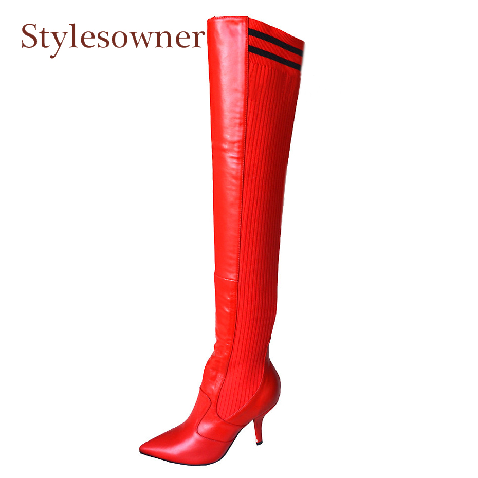 Stylesowner New Winter Patchwork Over The Knee Boots Pointed Toe Heel Wool Knitting Thigh High Boots Women Stiletto Botas Mujer wuhaobo the new arrival of the cashmere knitting wool ladies hat winter warm fashion cap silver flower diamond women caps