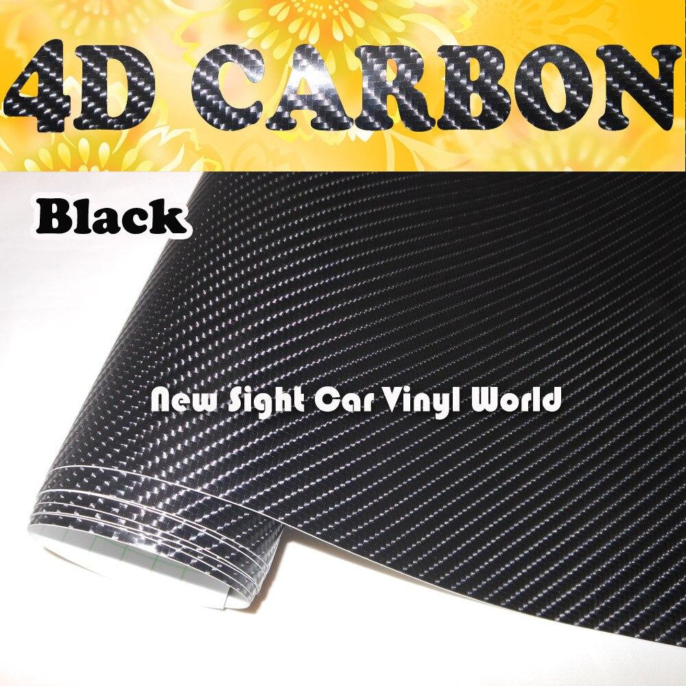Bulle d'air de Film d'enveloppe de vinyle de Fiber de carbone du noir 4D superbe de haute qualité libre pour la moto de voiture taille: 1.52*30 m/Roll