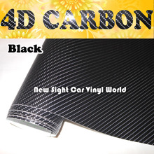 High Quality Super Black 4D Carbon Fiber Vinyl Wrap Film Air Bubble Free For Car Motorcycle Size:1.52*30m/Roll