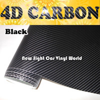 High Quality Super Black 4D Carbon Fiber Vinyl Wrap Film Air Bubble Free For Car Motorcycle Size:1.52*30m/Roll