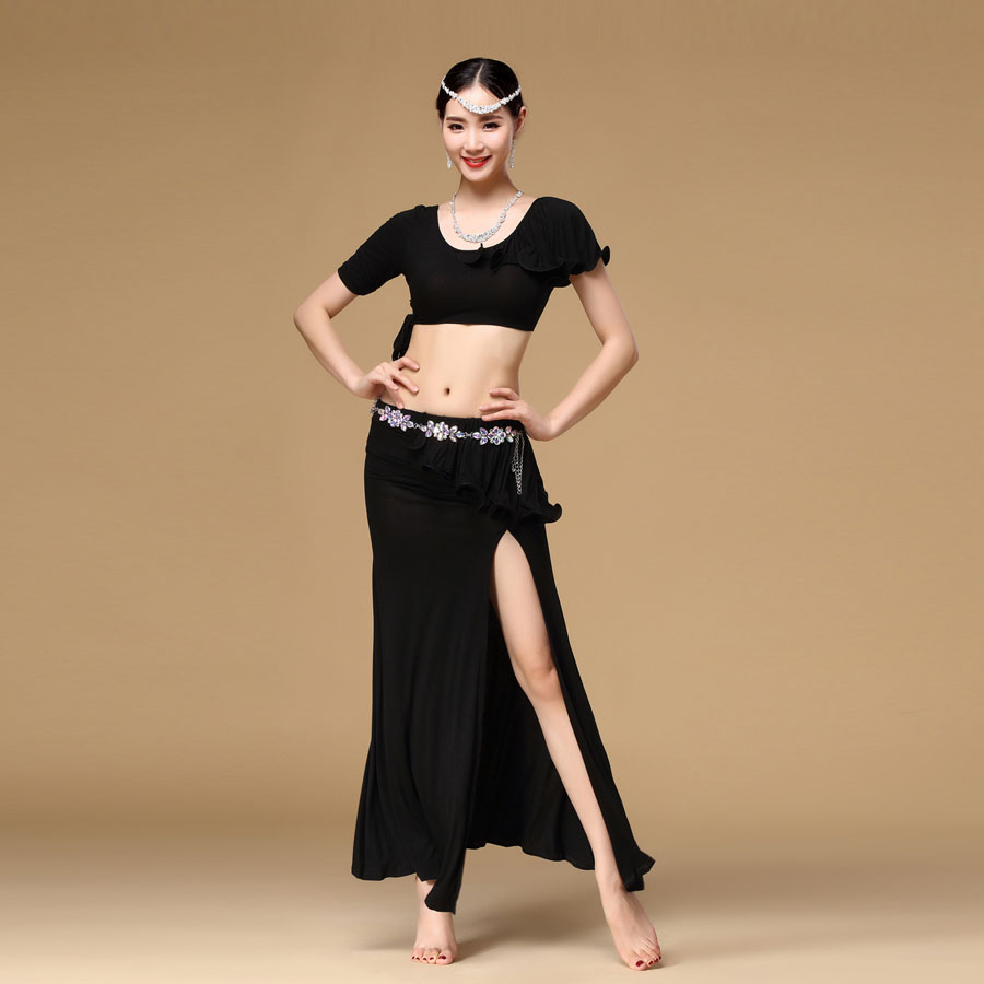 Cheap Women Belly Dance Clothing 2-piece Set Top and Skirt Spandex Clothes Practice Dance Costumes for Sale