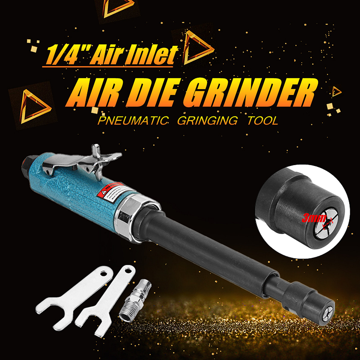 11 Extended Shaft 1/4 Long Air Die Grinder 20000Rpm Pneumatic Grinding Tool AG-307 Air Pressure 90 PSI High Speed Low Noise ag 307 air pressure 90 psi 11 extended shaft 1 4 long air die grinder 20000rpm pneumatic grinding tool high speed low noise