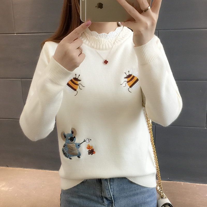 Fashion New 2019 Autumn Women Sweater Pullover Women Winter Tops Embroidery Little Bee Loose Warm Knitted Sweater Jumpers Ladies
