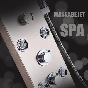 Image 5 - Paslanmaz çelik LED ışık duş paneli musluk duvara monte SPA masaj sistemi duş başlığı seti sistemi dijital sıcaklık ekran