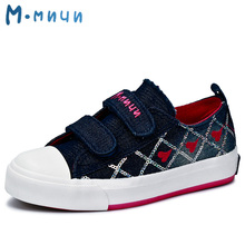 MMNUN 2017 New Spring Girls Shoes with Heart Children Shoes Girls Canvas Sneakers Shoes Denim Children Sneakers Girls Shoes