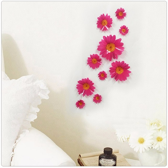 10pcs 3d Daisy Flower Wall Stickers Pvc Floral Window Wall Decals