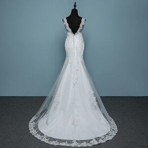 Image 2 - 순수한 흰색 아이보리 럭셔리 섹시한 백 레이스 인어 작은 기차 레이스 웨딩 드레스 2020 새로운 패션 라인 Appliques Vestido 드 Noiva