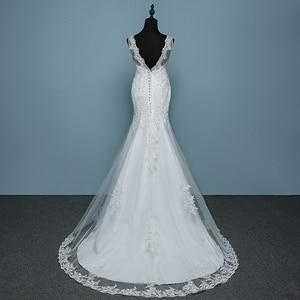 Image 2 - Pure White Ivory Luxury Sexy Backless Mermaid Small Train Lace Wedding Dress 2020 New Fashion A line Appliques Vestido De Noiva
