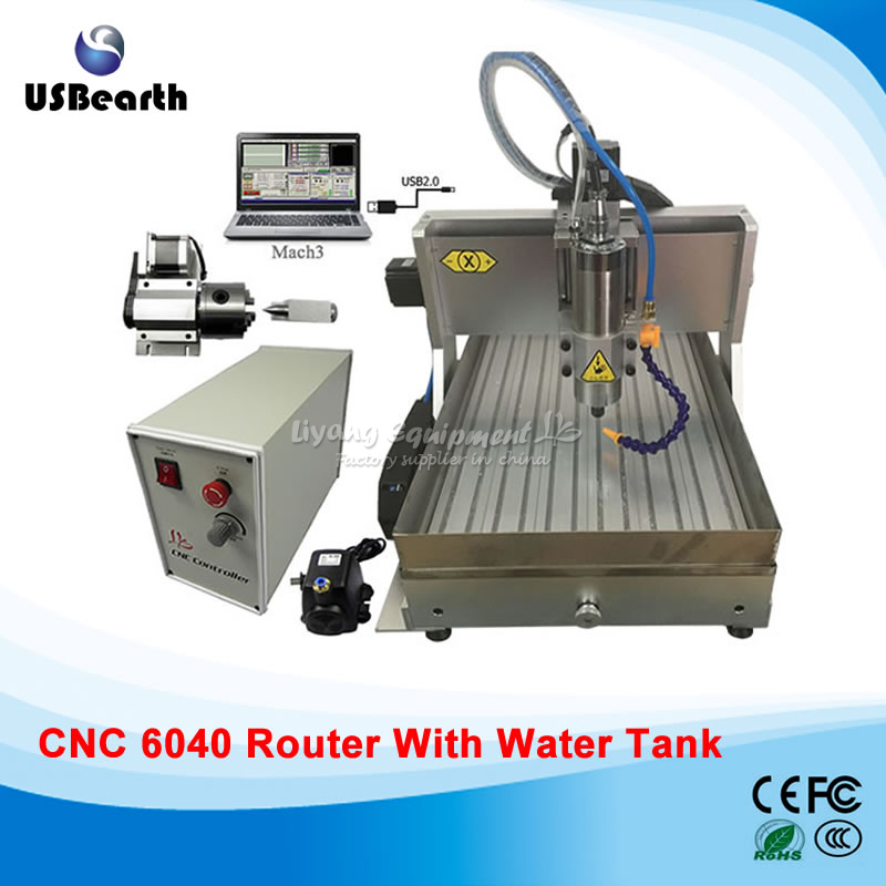 цена 4 Axis CNC Engraving Machine 6040 with USB Port Water Tank Marble Drilling Miling Machine