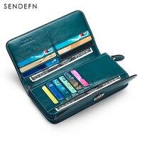Large Capacity New Split Leather Wallet Long Purse Women Zipper Money Bag Casual Purse Button Wallet