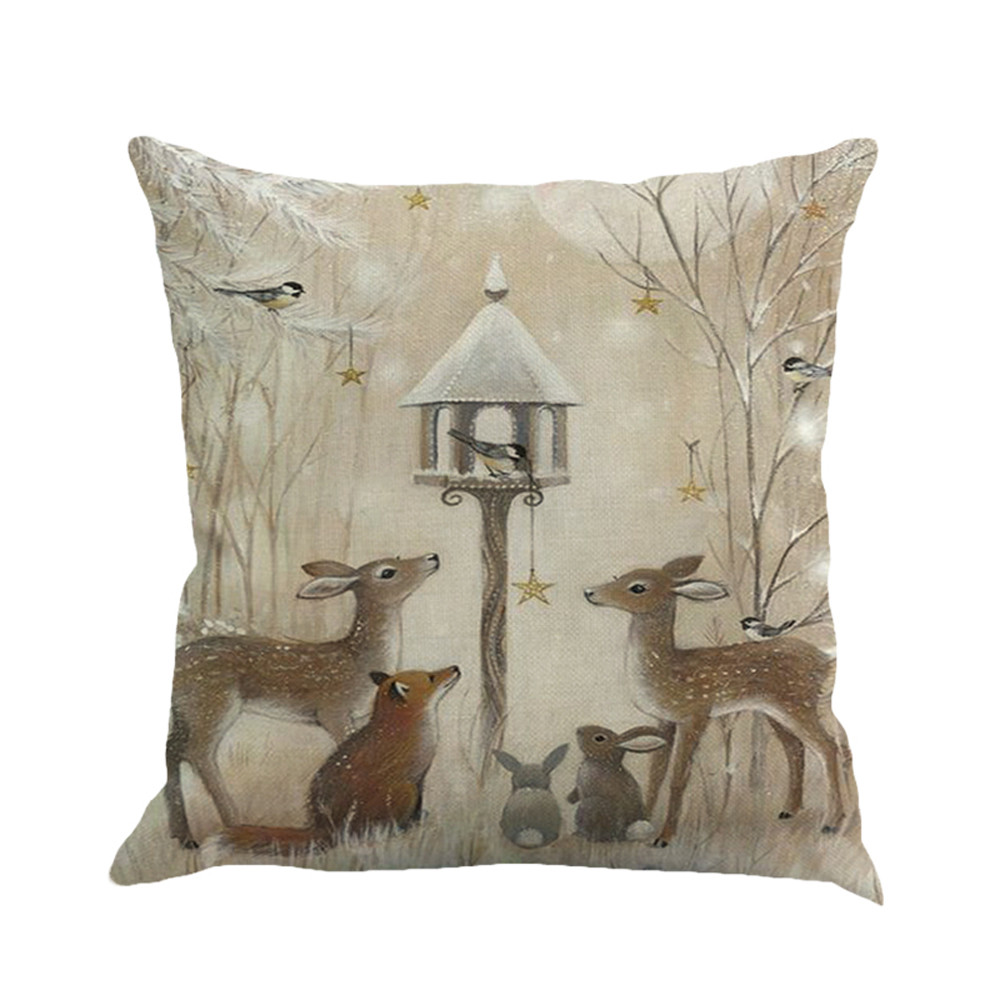 1Pcs 45*45cm Christmas Deer Snowman Pattern Cotton Linen Throw Pillow Cushion Cover Case Car Home Sofa Decorative Pillowcase
