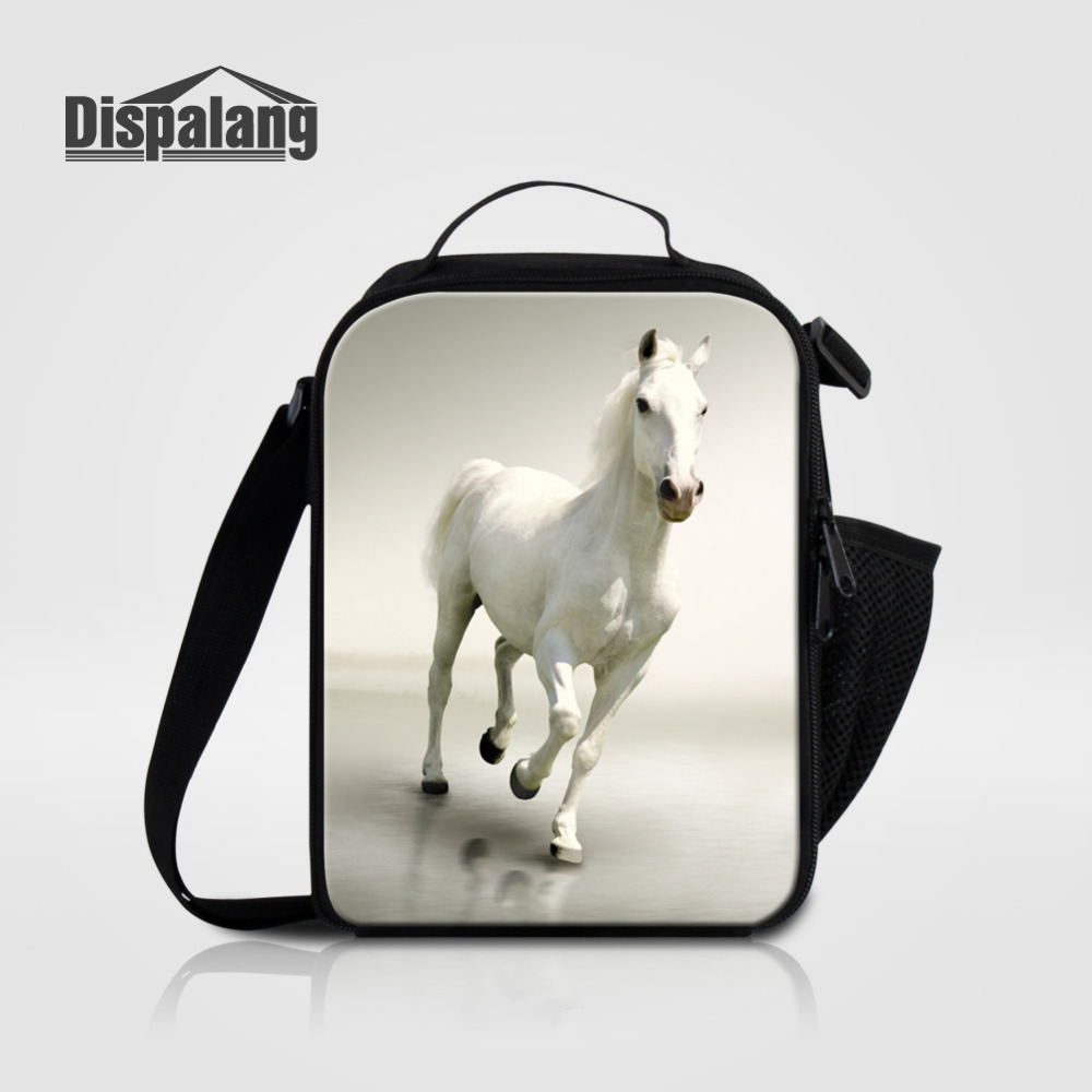 Dispalang Children Lunch Bag Horse Animal Print Portable Lunch Box Office Worker Mini Thermal Food Bag Kids Picnic Insulated Bag