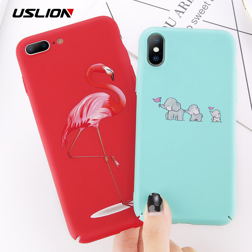 USLION Cartoon Flamingo Phone Case For Iphone 8 Plus Cute Elephant Pattern Cases For Iphone X 8 7 6 6S Plus Hard PC Back Cover