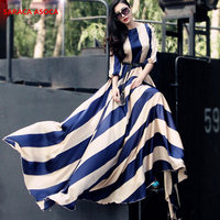 New Style Fashion Bohemian Stripe Floor Length Long Dress Muslim Female O neck Three Quarter Sleeve Dresses Women's
