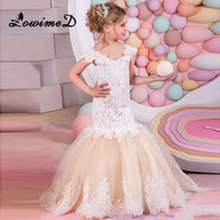 Mermaid Lace Flower Girl Dresses For Weddings 2017 Champagne Kids Evening Dress Holy Communion Dresses For