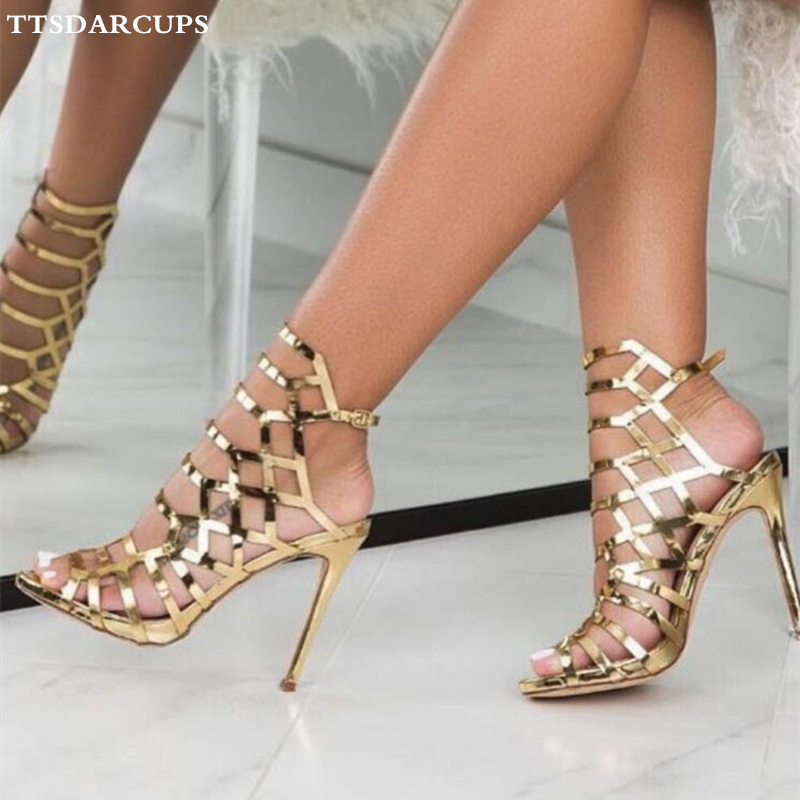 a869c51ced4a 2019 Italy Rome classic Street hollowed metal comfortable high heeled  sandals Sexy night club pumps Big size 35-40 shoes women