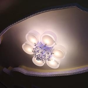 Image 2 - Plafonnier led en cristal, design moderne, design à la mode, luminaire de plafond interchangeable, abat jour blanc, idéal pour une chambre à coucher, une salle à manger ou une chambre à coucher