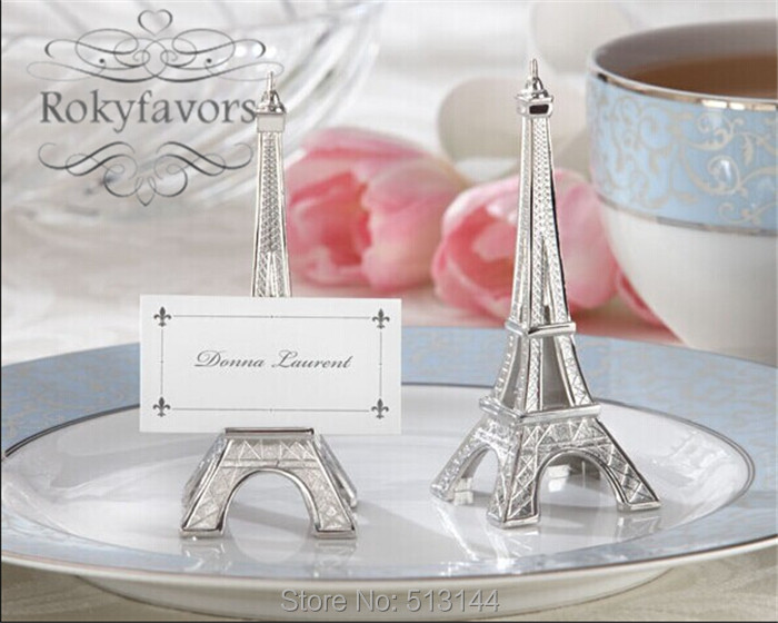 FREE SHIPPING 50PCS Romantic Paris Themed Eiffel Tower Silver-Finish Place Card Holder Wedding Table & Free Shipping 20PCS Romantic Paris Themed Eiffel Tower Place Card ...