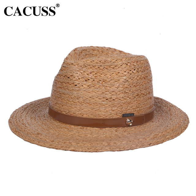 46e5673f CACUSS 2017 England Type Hats For Women Summer Handmade Knitted Raffia  Straw Hats With Wide Brim UV Protection Beach Caps Trend