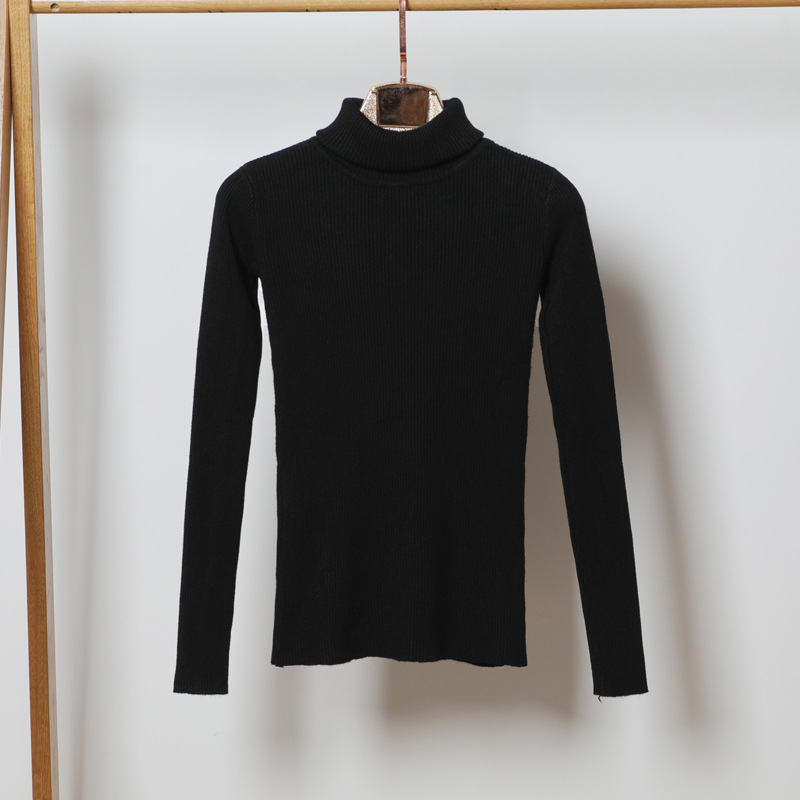 Women Elastic Knitted Turtleneck Soft Sweater And Pullover Autumn Winter Slim Basic Warm Long sleeve tight Top Women Clothing in Pullovers from Women 39 s Clothing