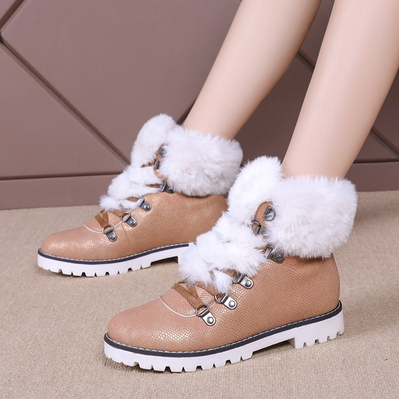 2019 Invierno Lana Zapatos Velver Mujeres De Mujer Zapatillas Cómodo Piel Botas Negro blanco Nueva Nieve marrón Casual Felpa rxrqF0