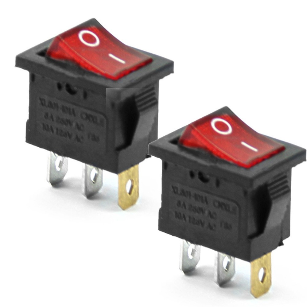 5Pcs/Lot 3 Pin AC 6A/250V 10A/125V Red  ON-OFF SPST Snap In Boat Rocker Switch P0.05 250vac 15a 125vac 20a 4 pin 2 position dpst on off snap in rocker switch kcd2 201n