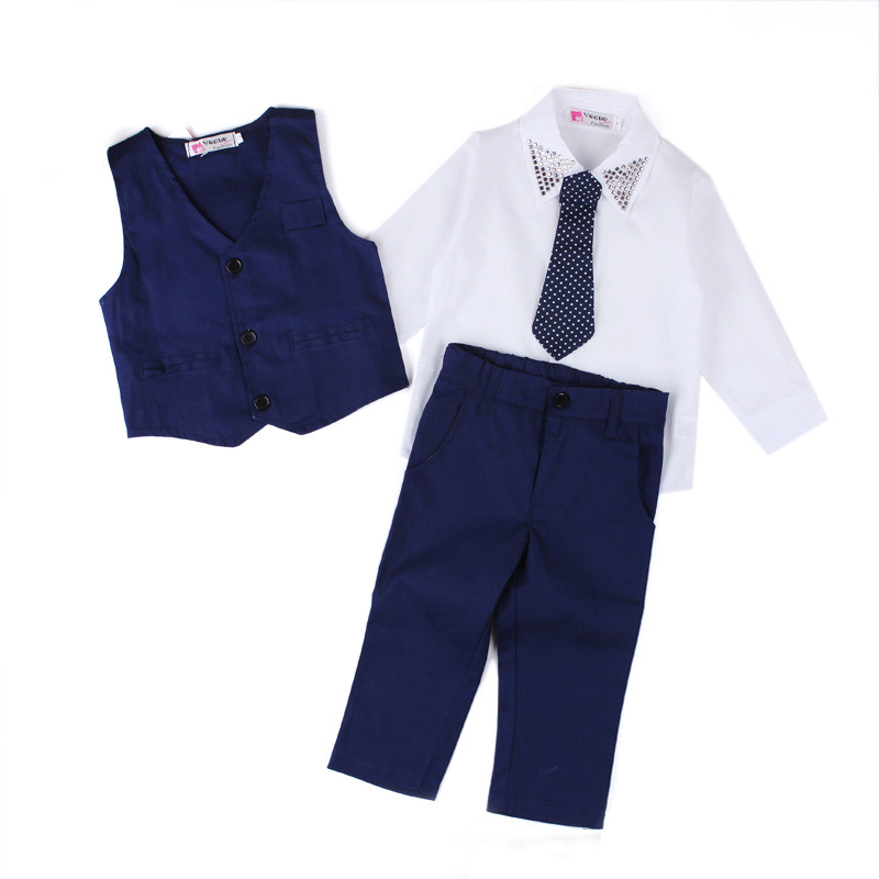 Spring Autumn Baby Boys Clothing Sets Formal Clothes Suits Children Vest +Shirt + Tie +Pants Kids Baby Suit Wedding Costume spring autumn children s clothing suits kids sweatshirts pants children sports suit boys clothes set retail toddler leisure