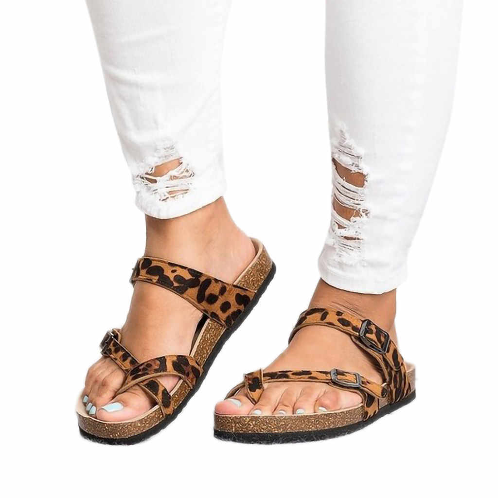 ee6d3279397b MUQGEW Casual Beach Sandals Women Retro Women s Leopard Flat Ankle Print Flats  Sandals Beach Shoes Thick