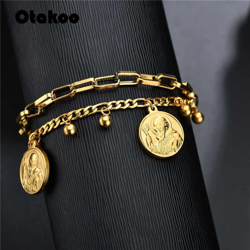 Otakoo St benedykt Medal bransoletka kobiety w stylu Vintage San Benito złoty kolor ze stali nierdzewnej dla kobiet biżuteria religijna ojca prezent