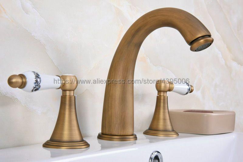 Antique Brass Deck Mount Dual Handles Basin Faucet 3pcs Bathroom Lavatory Washbasin Mixer Tap Ban082Antique Brass Deck Mount Dual Handles Basin Faucet 3pcs Bathroom Lavatory Washbasin Mixer Tap Ban082
