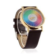 2016 New Women Men Rainbow Style Dial Leather Band Quartz Analog Wrist Watches Famous brand women clock Elegant women Watch