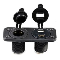 C933 Z 12 24V Double Hole Panel Round Dual USB Vehicle Power Plug Voltmeter Cigarette Lighter
