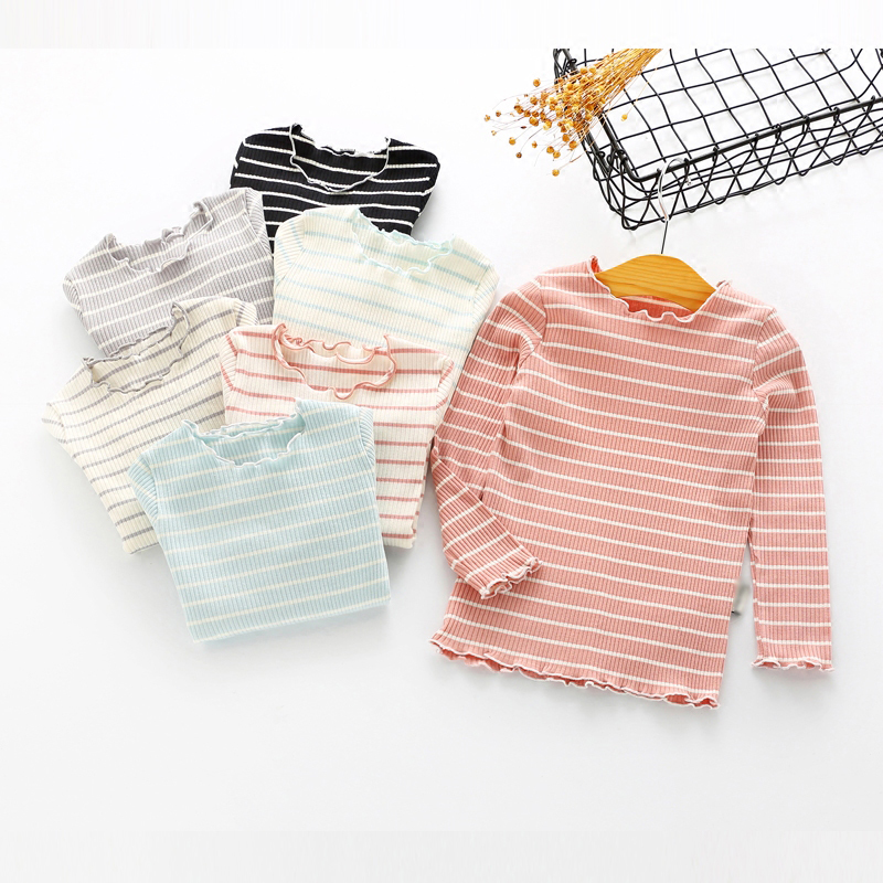 Kids Stripe T-shirt for Girl Children Girls Clothing Baby Knit T-shirts Cute Striped Long Sleeve T Shirts for 2-9 Age