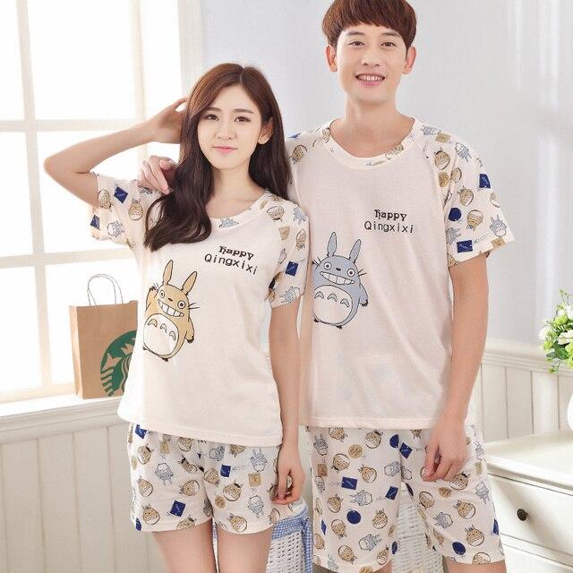 b540e790bd Summer Men Pajama Sets Couples Sleepwear Women Pajamas Pijama hombre  Masculino Totoro Pyjamas Men's Pajamas Cotton Home Clothing