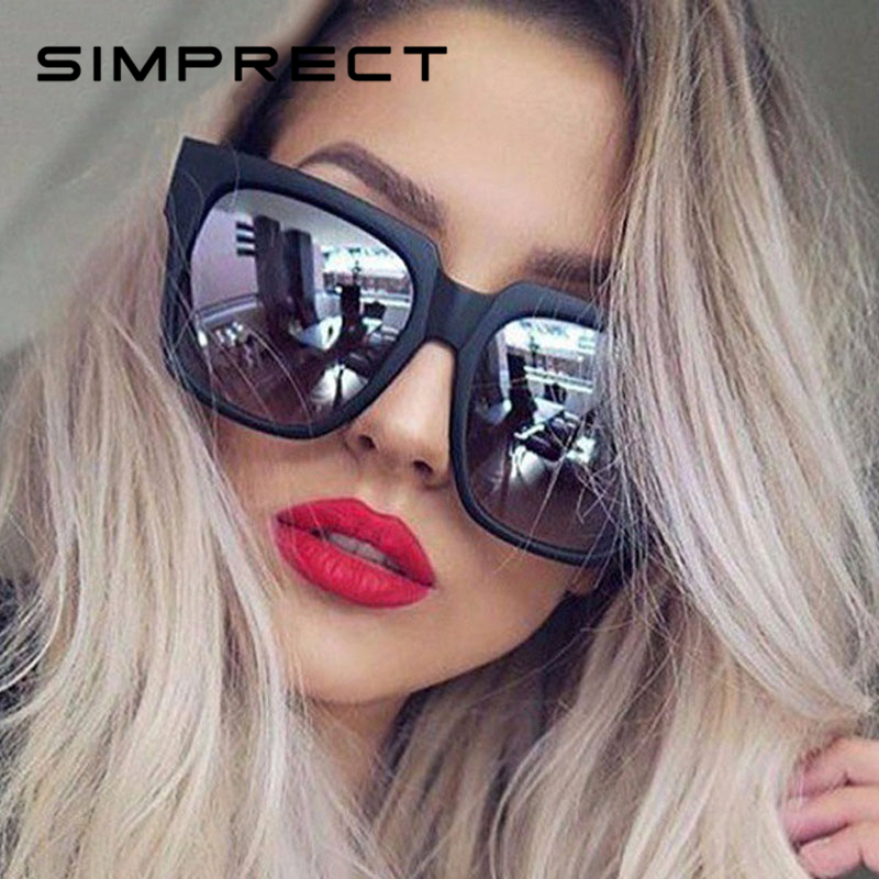 SIMPRECT Square Sunglasses Mirror Lunette-De-Soleil Oversized Vintage Femme Women Retro