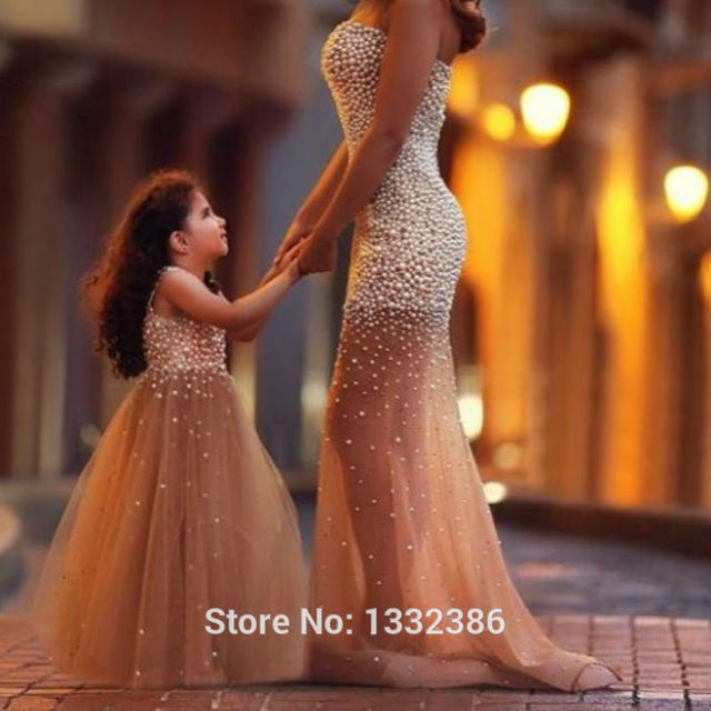 55New Bronze Mother Daughter Formal Dresses Floor Length Evening Dresses  Gown With Heavy Pearls  Disp PR 2 PCS 08ea4ce7cc02