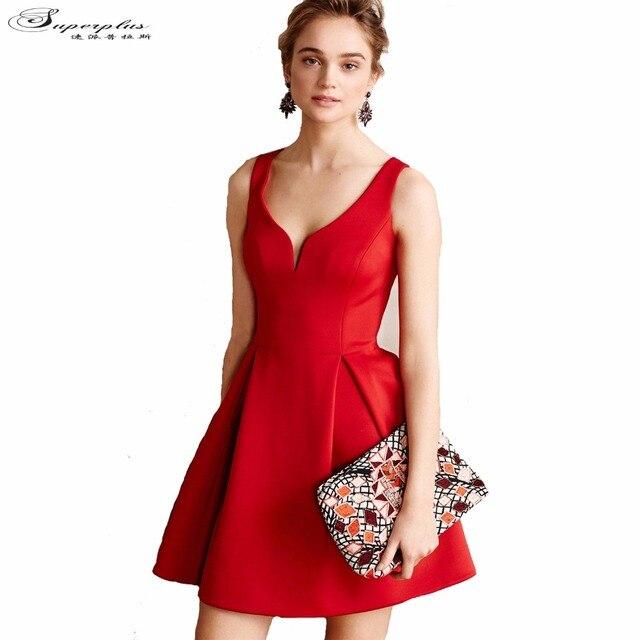 2016 Marca de Moda de Nova Mulheres Curto Vestido de Festa Vestidos De Algodão plus Size Preto Vermelho Sem Mangas Vestido de Verão para As Mulheres De Festa