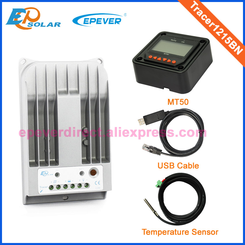 Tracer1215BN MPPT mini solar charge regulators MT50 remote meter and USB cable connect PC temperature sensor