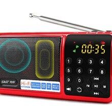Карманное радио FM радио мини портативный Перезаряжаемый радио приемник динамик со вспышкой светильник Поддержка USB TF карта Музыка MP3 плеер