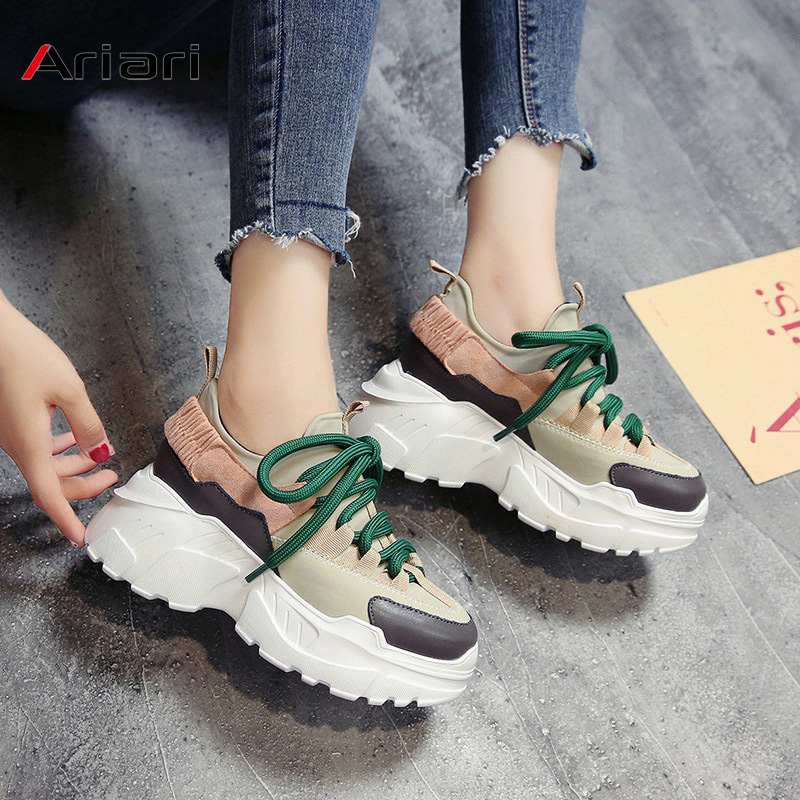 Ariari 2019 Spring Women Platform Sneakers Ladies Chunky Trainers Flat Heels Women Casual Shoes Thick Dad Shoes Chaussure Femme