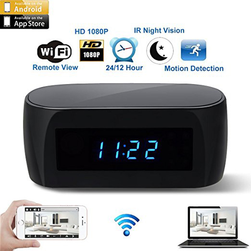 Newest Version WiFi Camera Alarm Clock with Motion Detection IR Night Vision HD 1080P Mini Home Security Camera Real-time Video real time driver s fatigue detection