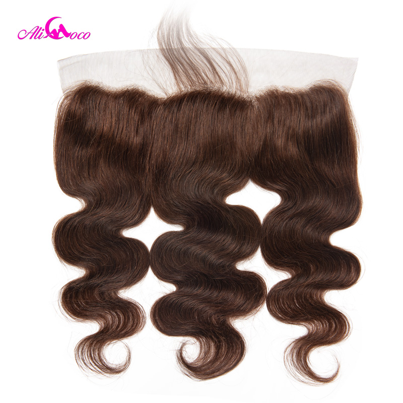 Ali Coco Hair Brazilian Body Wave Lace Frontal With Baby Hair Natural Color / #2/ #4