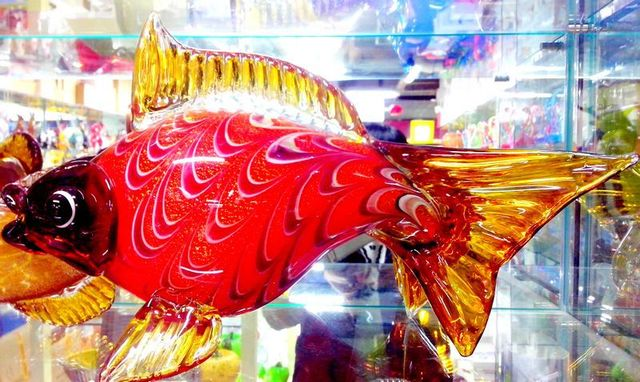 Lucky Large Glass Fish Boutique Home Decor Furnishings Opening Gifts