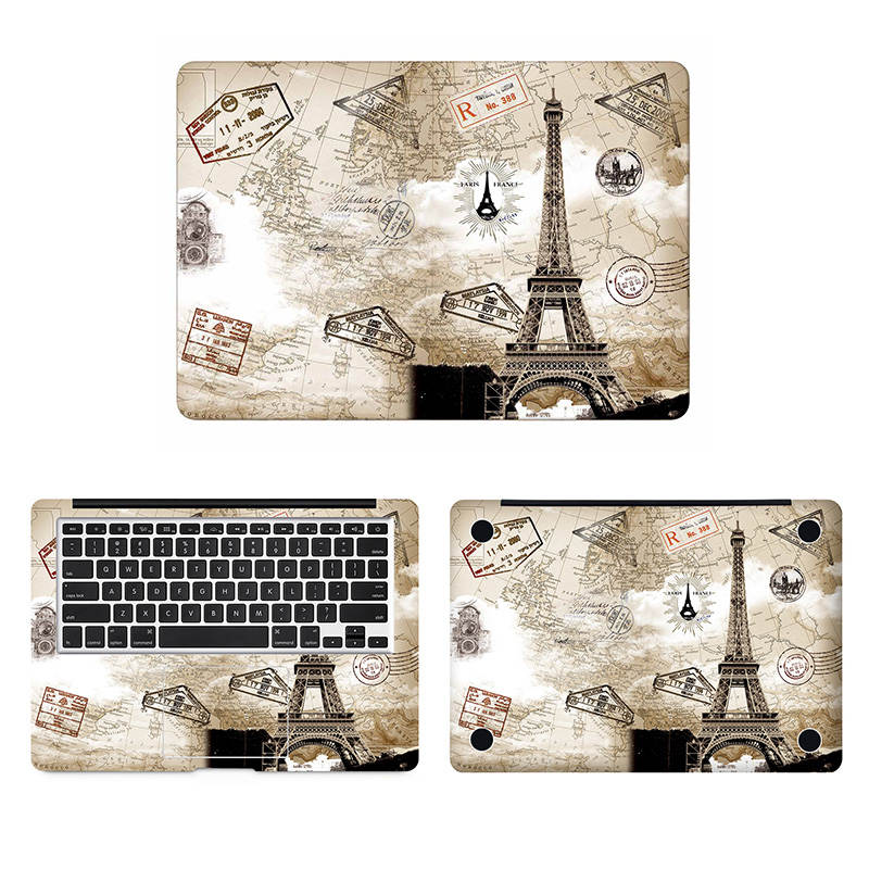 Paris Eiffel Tower Full Body Cover Skin for Macbook Sticker Pro Air Retina 11 12 13 15 inc