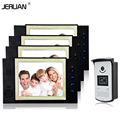 JERUAN 8 inch TFT video door phone Record intercom system access control system 1 camera 4 monitors IR kit Nghit camera 8GB SD